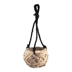Zaza Brown rope hanging pot round with glass S