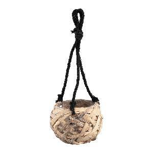 Zaza Brown rope hanging pot round with glass M