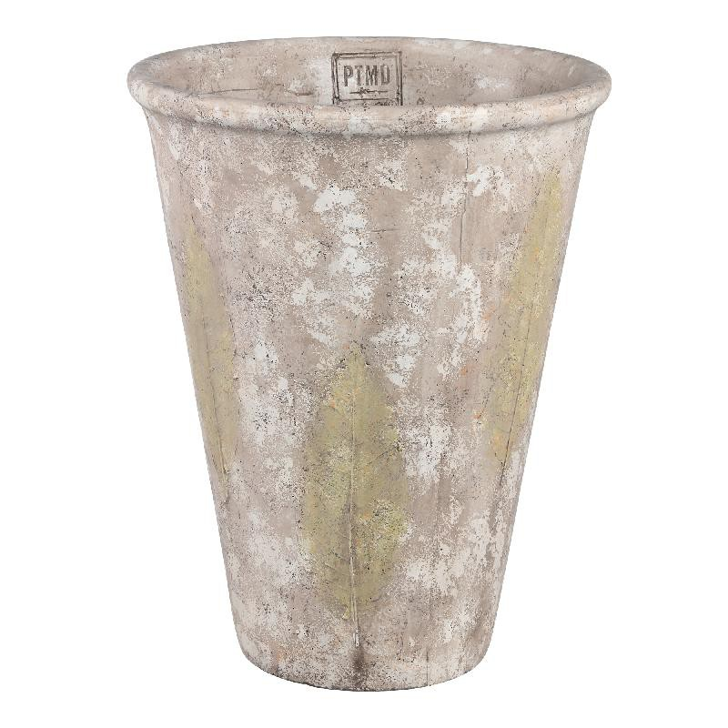 Jaine Cream cement pot leaf round XL