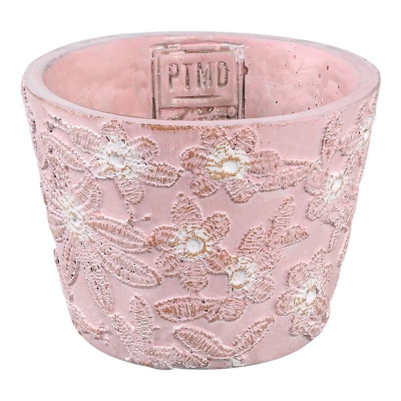 Freesia Pink cement pot round flower pattern XS