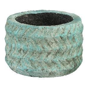 Yulia Blue ceramic pot leaf pattern round low M