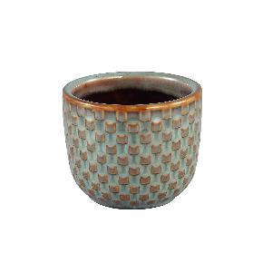 Inezz Ceramic green pot square votive round M